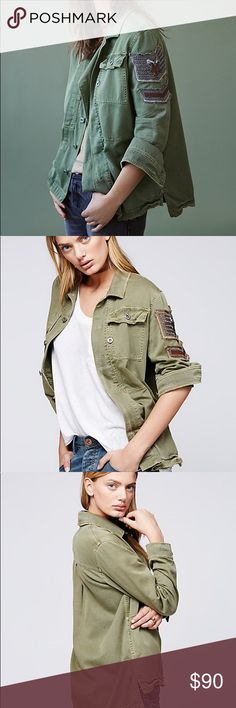 NWT Free People Embellished Military Shirt Jacket Military inspired soft utility shirt jacket featuring luxe bead accents on the sleeve and allover raw trim. Exposed button closures, hip pockets and bust pocket detailing. 100% Cotton  Length: 28.0 in Sleeve Length: 19 in Free People Tops Button Down Shirts