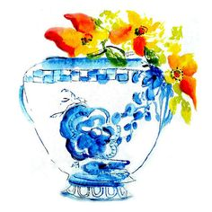 Title- Blue and White Urn..a reproduction art print of my original painting. PURCHASE three mini prints and get the fourth one absolutely FREE! Please DO NOT put the fourth print in your shopping cart, simply leave me the title of your free print in the Notes section when checking out here on Etsy. 2.5 x 3.5 in size mini prints are the size of ATC (artist trading cards), and ACEO (art cards, editions, and originals). Prints are handmade by me in my studio on a professional printer using…