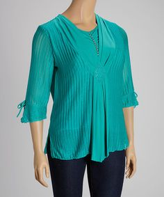 Look what I found on #zulily! Teal Layered Three-Quarter Sleeve Top - Plus by C.O.C. #zulilyfinds