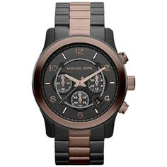 Michael Kors Black Dial Two Tone Band Men Watch $200.95 http://r.