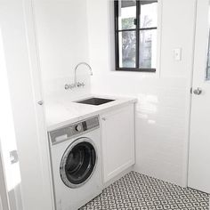 This laundry space is everything! ft our Fisher and Paykel front load washer - the perfect, quality finish to a beautiful laundry design such as this! Wet Rooms, Laundry Mud Room, Home, Bedroom Design, Laundry Design, Small Room Bedroom, Interior Design Living Room, Laundry, Living Room Designs
