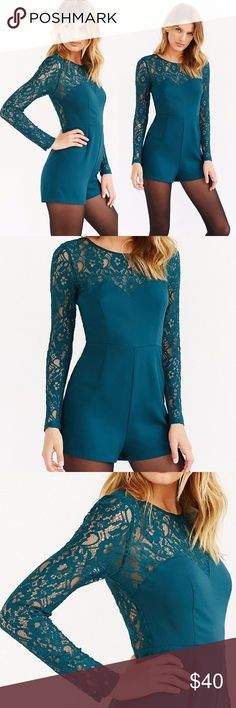 NWT🎄UO Lace Romper Yoke Mini Kimchi Blue Brand new with tags smoke free pet friendly. Perfect color for holiday season! Urban Outfitters Pants Jumpsuits & Rompers
