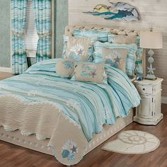 The Seaview II Coastal Quilt Set includes a quilt, bedskirt, and shams. Oversized quilt has a printed wave design in light blue, pale blue, and aqua. Coastal Quilts, Coastal Bedding, Coastal Bedrooms, Luxury Bedding, Beach Bedding Sets, Ocean Bedding, Beach Theme Bedding, Beach Themed Quilts, Sea Bedrooms