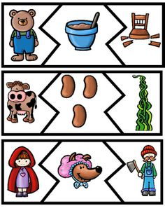 This is a set of 12 Fairy Tale and Nursery Rhyme themed mini puzzles for your students to work on after listening to and becoming familiar with some of these favorite tales. The puzzles are roughly in sequential order for pre-reading Nursery Rhymes Preschool, Nursery Rhyme Theme, Preschool Themes, Fairy Tale Activities, Rhyming Activities, Kindergarten Activities, Fairy Tale Crafts, Fairy Tale Theme, Fairy Tales Unit
