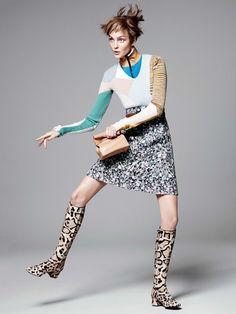 Caroline Trentini Rocks Colorful Fall Fashions for Vogue US by David Sims