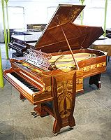 Unique, Julius Gutermann, Bechstein Model C Grand Piano For Sale with a Mahogany Case, Inlaid with a Variety of Woods in an Art Nouveau design