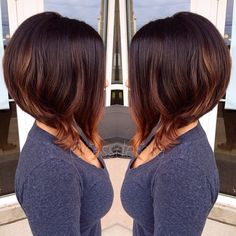 Dark brown brunette chin shoulder grazing bob curl accent long front stacked back red tips chocolate hair color