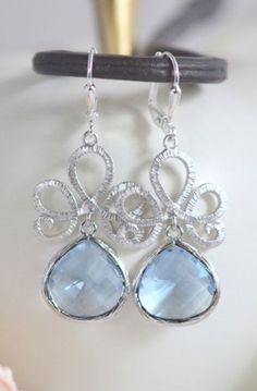 Blue Drop Earrings in Silver. Light Blue Dangle Earrings