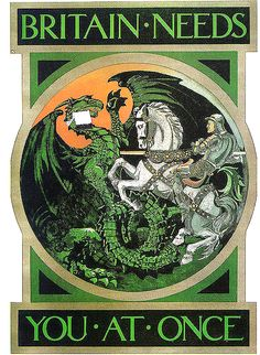 Dragon slaying - World War I-era propaganda from Great Britain