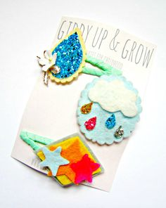 Felt Hair Clips - Rain Cloud hair clip, Giddy Up and Grow hair clips. $24.00, via Etsy. Ask for any of these to be made without clips and stick on with Girlie Glue!