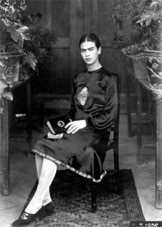 Frida Kahlo as photographed by her father, Guillermo Kahlo (1872-1941) in 1926 at about age 19. This was taken after Frida's horrific bus accident.