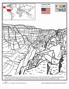 Second Grade Fourth Grade Places Geography Worksheets: Grand Canyon Coloring Page