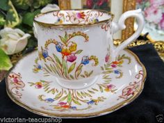 ROYAL ALBERT TEACUP AND SAUCER CROWN CHINA FLORAL BEADED PATTERN TEACUP