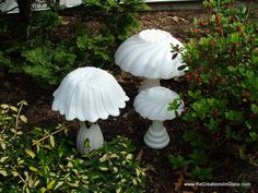 "Garden art. Glass totems. Mushrooms. Milkglass. ""Trio of white mushrooms"" made from upcycled repurposed glass."