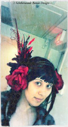 Red and black ATS Tribal Belly dance festival wear head piece by ScheherazadeBanoo, $215.00