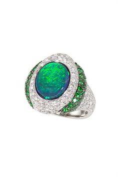 Great Barrier Reef Ring 3.90ct Black Lightning Ridge Opal, custom-made 18K White Gold, Diamondand Emeraldmicro-pave setting. Katherine Jet...