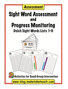 FREE Dolch sight word assessment. Student materials, recording forms and progress monitoring charts. Perfect for RtI