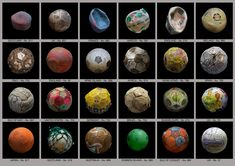24 marine debris footballs collected from various beaches around the world. <br> <br>(PENALTY series).