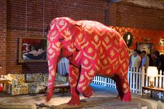 Pink painted elephant by artist Bansky in 2006
