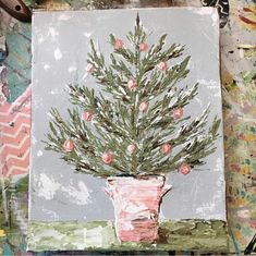 Pink Christmas tree – Hobbies paining body for kids and adult Pink Christmas Tree, Christmas Tree Painting, Christmas Canvas, Winter Painting, Noel Christmas, Winter Art, Christmas Scenes, Christmas Ideas, Diy Outfits