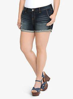 Torrid Skinny Short Shorts - Dark Wash with Flipped Hem, BAYOU