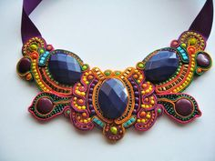 BUTTERFLY EFFECT soutache  statement necklace in purple, orange, yellow, lime green, fuchsia, bronze and irridescent beetle teal