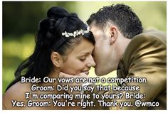 """""""OUR VOWS ARE NOT A COMPETITION""""   #Officiants #Ceremony #BrideRide #WeddingPlanning #Vows #WeddingVows #Bride #Groom #Relationship #Love In Plan, How To Plan, Wedding Vows, 20 Years, Bride Groom, Competition, Wedding Planning, Relationship, Couples"""