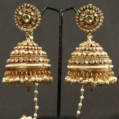White Pearl Jhumki with Polki And kundan 74 - Online Shopping for Earrings by Prakruthi