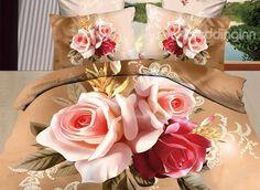 New Arrival 100% Cotton Luxurious Flower Print 4 Piece Bedding Sets