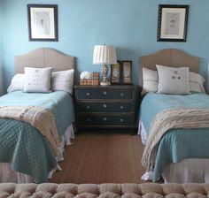 Wonderful bedroom.  Note the burlap headboards.
