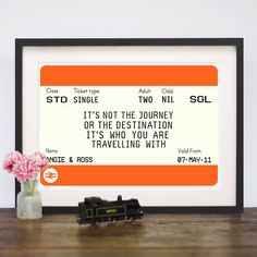 Personalised Train Ticket Print by Of Life & Lemons, the perfect gift for Explore more unique gifts in our curated marketplace. Ticket Printing, National Rail, Poster Prints, Framed Prints, Posters, Leaving Gifts, Valentines Presents, Train Tickets, Travel Themes