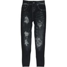 Poplooks Black Distressed Jeggings ($9.99) ❤ liked on Polyvore featuring pants, leggings, stretch leggings, stretch denim leggings, leggings jeggings, stretch pants and distressed jeggings