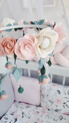 Floral crib mobile - Shabby chic nursery- Boho Flower chandelier with blush and nude roses - Floral and greenery baby shower gift Chic Nursery, Nursery Decor, Girl Nursery, Mobiles, Shabby Chic Baby, Felt Baby, Girl Bedroom Designs, Flower Chandelier, Baby Shower