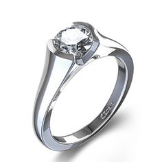 Unique Half Bezel Set Diamond Ring in 14k White Gold