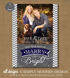 chevron save the date christmas card, marry and bright, marry christmas, PRINTABLE