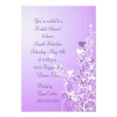 Violet Floral Heart Swirl Bridal Shower Invitation