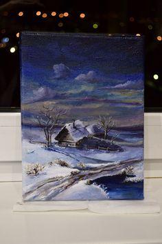 #картина, #масло, #пейзаж, #зима