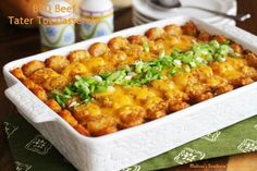 Barbecue Beef Tater Tot Casserole from Melissa's Southern Style Kitchen. BBQ ground beef, topped with tater tots and melted cheese. We could go nuts for this!