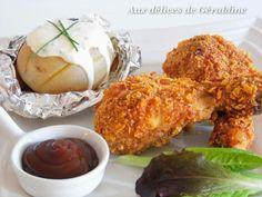 Pilon de poulet pané à l'américaine (cuisson au four) et pommes de terre sauce fromage blanc - Aux délices de Géraldine