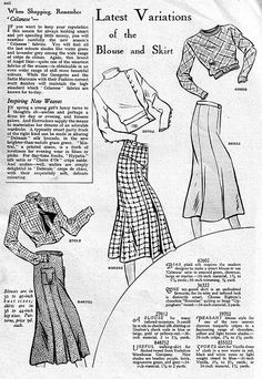 It's the latest variations of the blouse and skirt (April 1933). #vintage #1930s #fashion #illustrations