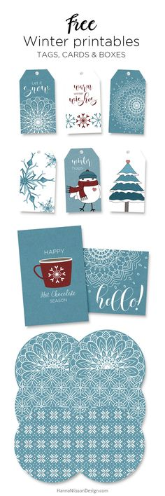 Winter printables – free tags, cards & boxes to print at home - Free winter printables – tags, cards & boxes ————————– paper crafts, handmade - Christmas Gift Tags, Christmas Paper, Handmade Christmas, Winter Christmas, Printable Christmas Cards, Christmas Wrapping, Christmas Treats, Christmas Decor, Diy Bag Gift