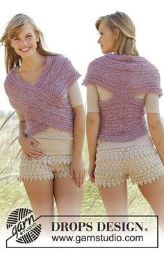 Knitted DROPS shoulder piece with cables, lace pattern and short rows in Alpaca and Kid-Silk. Size: S - XXXL. Free knitting pattern by DROPS Design.