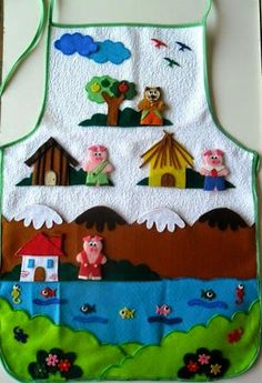 Educational toy made with dish apron – Educational Toy Ideas Felt Crafts, Diy And Crafts, Puppet Making, Felt Books, Three Little Pigs, Kids Apron, Sewing Toys, Educational Toys, Toddler Activities
