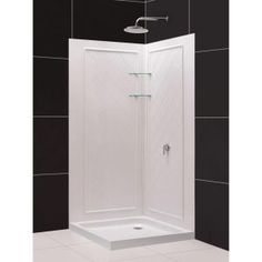 "36"" x 36"" square frameless corner shower enclosure with dual"