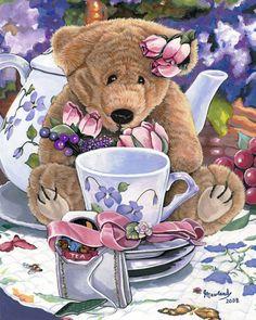 Time for Tea by Jenny Newland  (1104×1380) teddy bears, tea party