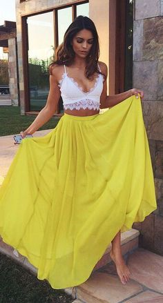 summer outfits lace crop top yellow maxi skirt