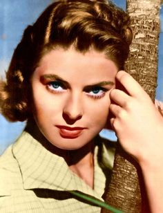 Young Ingrid Bergman Colorized Photo: beautiful famous classic close-up photograph nicely colorized of the actress in full color; click to enlarge and download a larger public domain copyright free still picture of the vintage movie star award winning legendary Swedish actress Ingrid Bergman.
