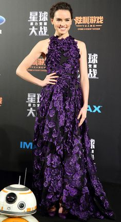 Star Wars' Daisy Ridley in a floral purple Jason Wu gown (and yes, that's BB-8!)