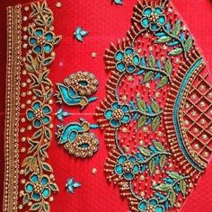 Peacock Embroidery Designs, Cutwork Embroidery, Bead Embroidery Patterns, Embroidery Works, Brocade Blouse Designs, Bridal Blouse Designs, Mirror Work Blouse Design, Maggam Work Designs, Peacock Design