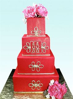 Chinese Wedding Cake  Gumpaste Peonies and Plum Blossoms